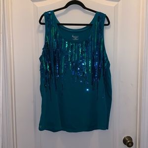 Turquoise sequence sleeveless blouse